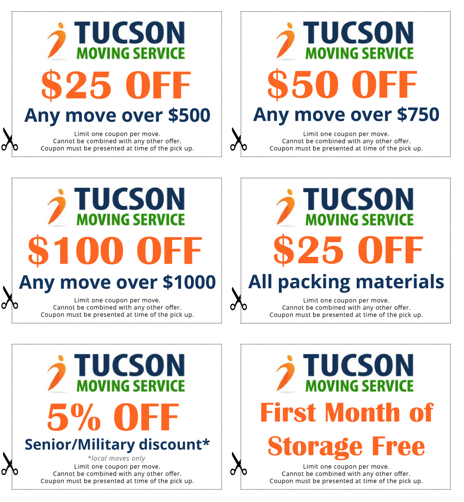 Tucson moving service coupons.