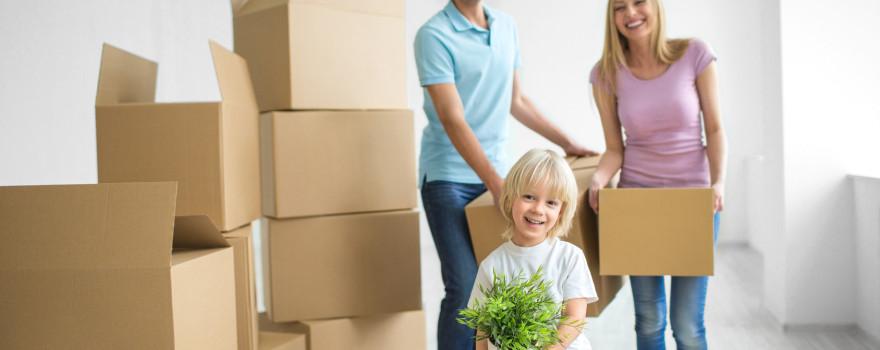 Kid helping move